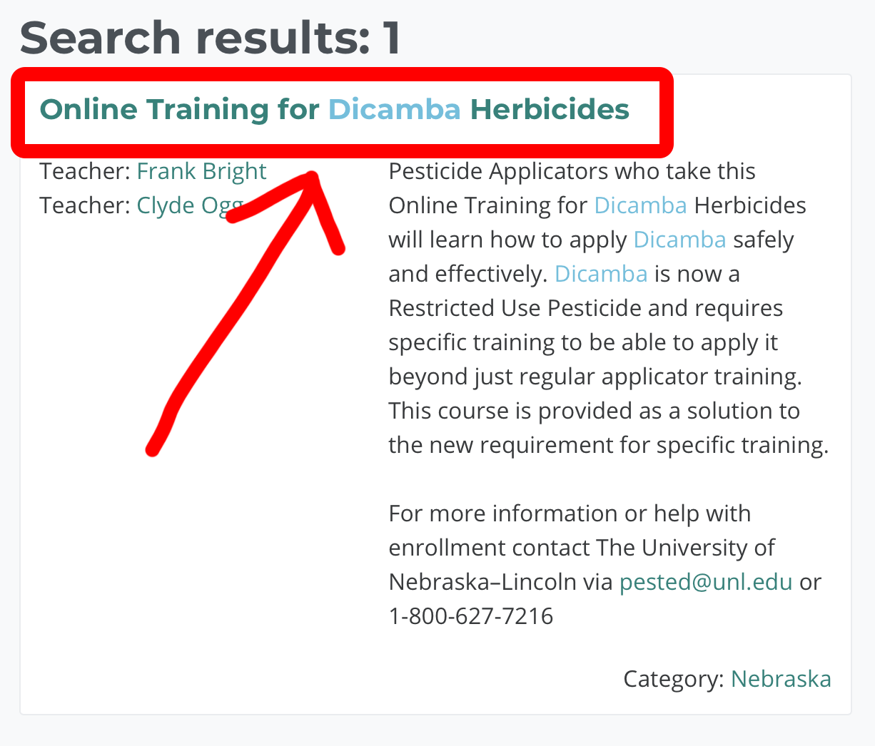 screenshot of search results with the online dicamba course highlighted