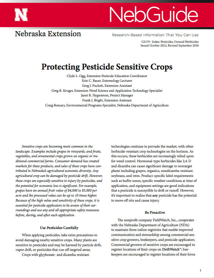 open the NebGuide titled, Protecting Pesticide Sensitive Crops